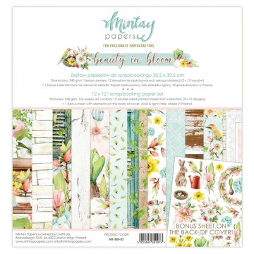 Bloc 12 papiers scrapbooking 30 x 30 collection Beauty in bloom MINTAY BY KAROLA