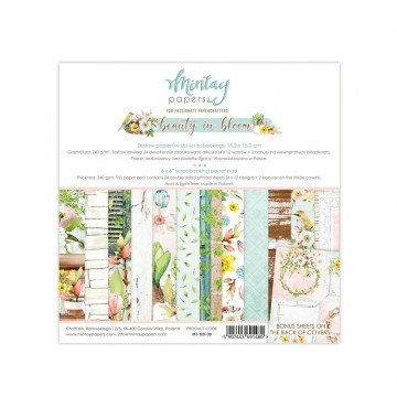 Bloc 24 papiers scrapbooking 15 x 15 collection Beauty in bloom MINTAY BY KAROLA