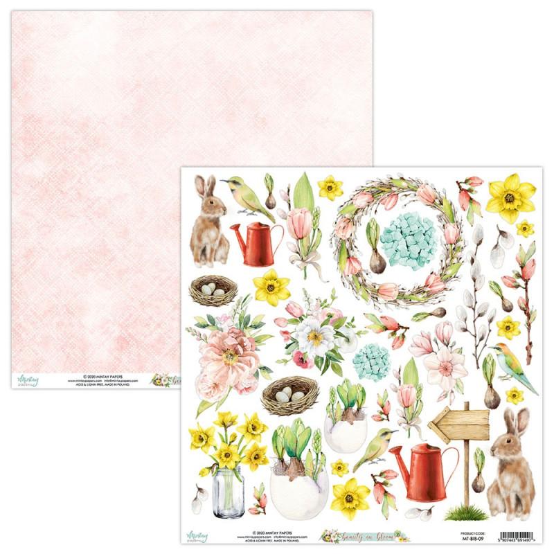 Papier scrapbooking motifs à découper collection Beauty in bloom MINTAY BY KAROLA