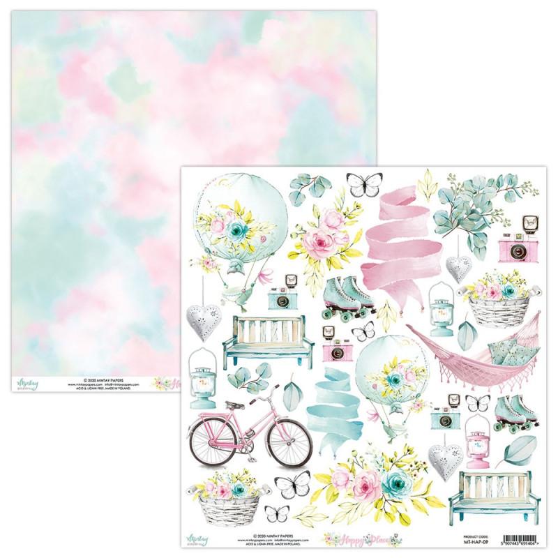 Papier scrapbooking motifs à découper collection Happy Place MINTAY BY KAROLA