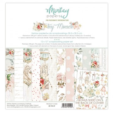 Bloc 12 papiers scrapbooking 30 x 30collection Tiny Miracle MINTAY BY KAROLA