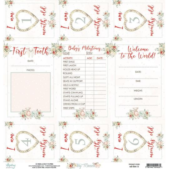Papier scrapbooking étiquettes à découper collection Tiny Miracle MINTAY BY KAROLA