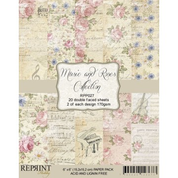 Set 20 papiers scrapbooking 15 x 15 collection Music and Roses REPRINT