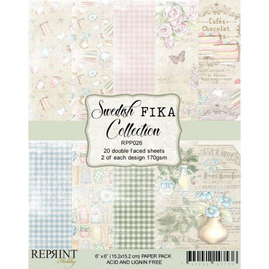 Set de 20 papiers scrapbooking 15 x 15 collection Swedish Fika REPRINT