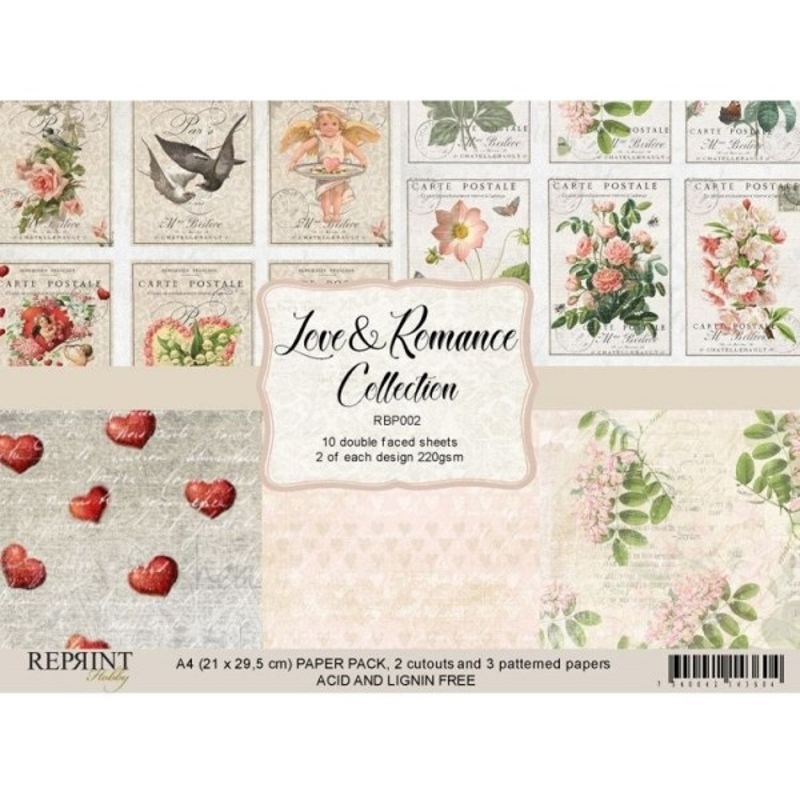 Set de 10 papiers scrapbooking A4 collection Love & Romance REPRINT