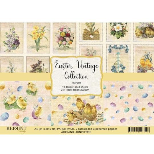 Set 10 papiers scrapbooking A4 collection Easter Vintage REPRINT