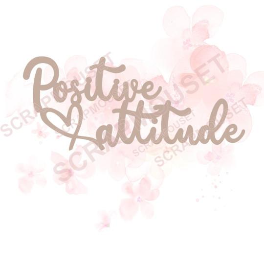 Mot Positive attitude (et petit coeur) en carton bois SCRAPMOUSET