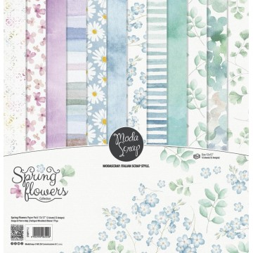 Set 12 papiers scrapbooking 30 x 30 collection Spring Flowers MODA SCRAP