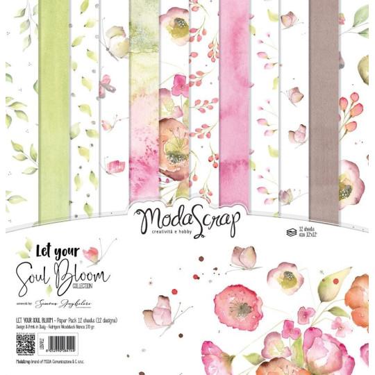 Set 12 papiers scrapbooking 30 x 30 collection Let your soul bloom MODA SCRAP