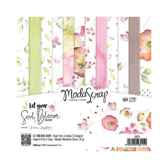 Set 12 papiers scrapbooking 15 x 15 collection Let your soul bloom MODA SCRAP