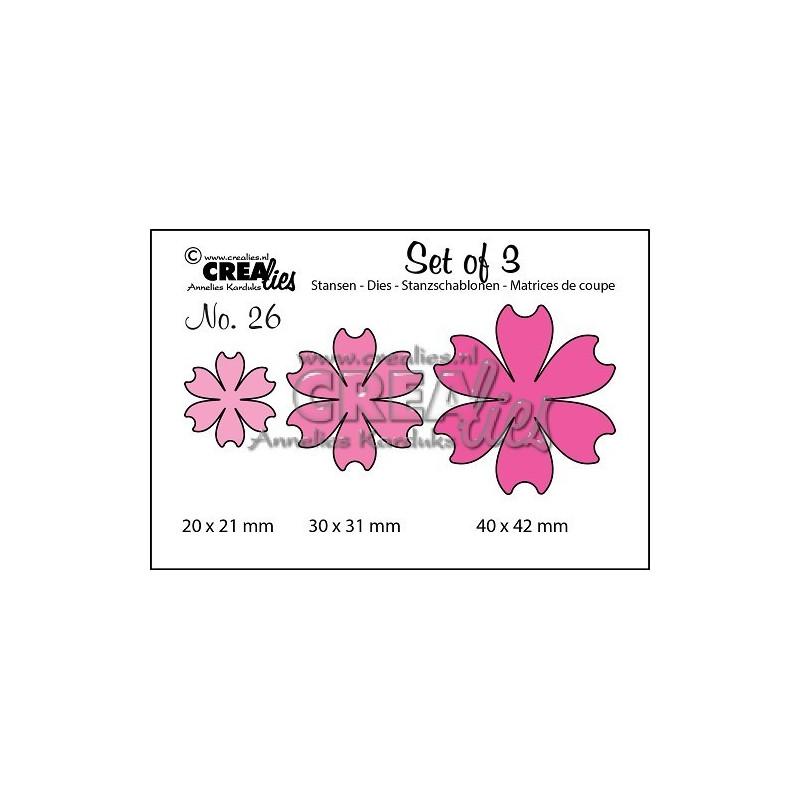 Set 3 matrices de découpe fleur 26 CREALIES