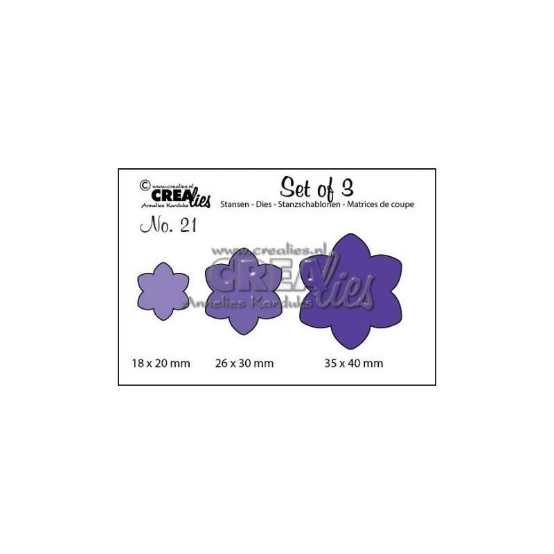 Set 3 matrices de découpe fleur 21 CREALIES