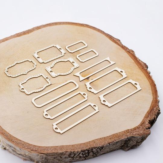 Lot de douze étiquettes évidées de différentes tailles et de différentes formes en carton bois SCRAPMOUSET