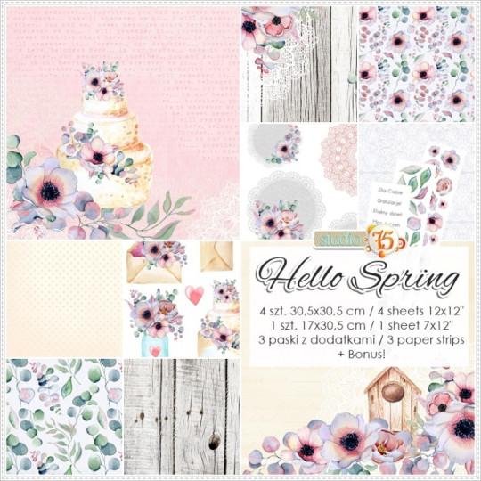 Set papiers scrapbooking 30 x 30 collection Hello Spring STUDIO 75