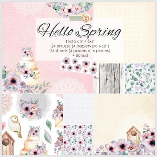 Set 24 papiers scrapbooking 15 x 15 collection Hello Spring STUDIO 75