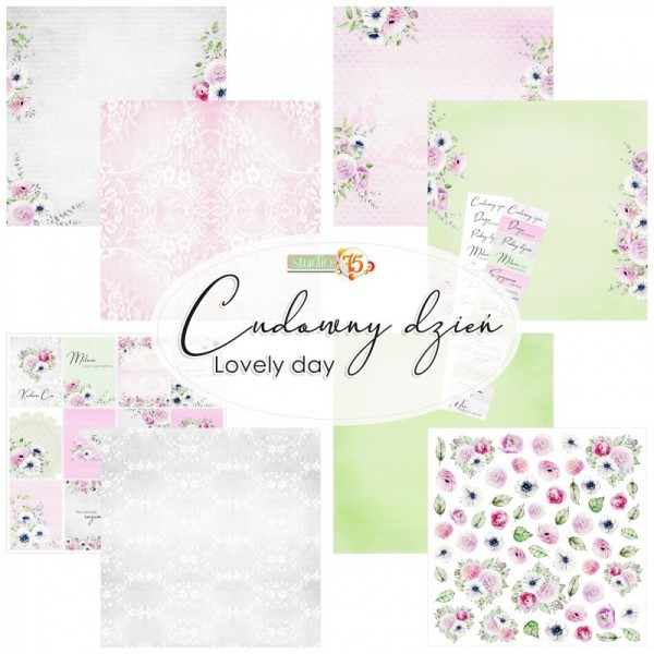 Set 4 papiers scrapbooking 30 x 30 collection Lovely day STUDIO 75