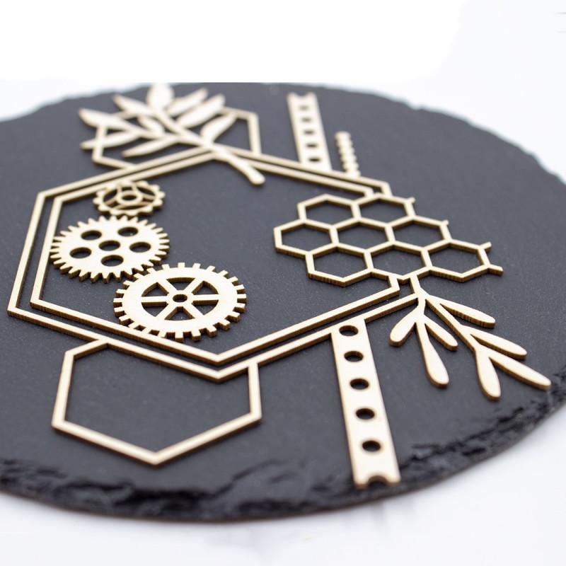 Chipboard Edelys aux formes géométriques en carton bois SCRAPMOUSET