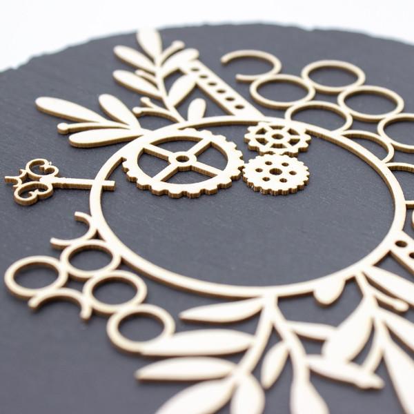 Chipboard Edena avec feuillages, engrenages et formes diverses SCRAPMOUSET