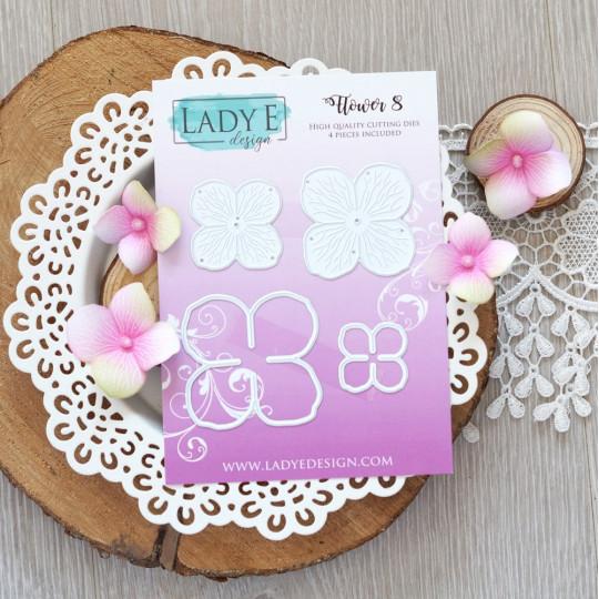 Set de 4 matrices de découpe Fleur 8 LADY E DESIGN
