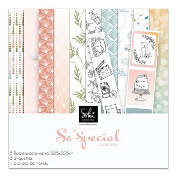 Set 5 papiers scrapbooking 30 x 30 collection So'Special SOKAI