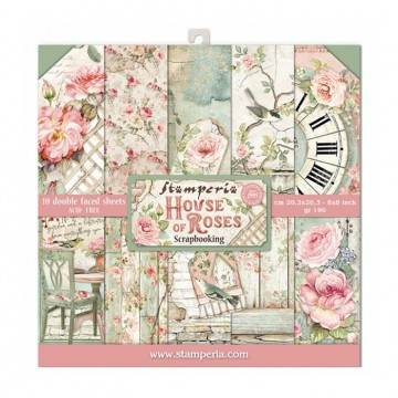 Set 10 papiers scrapbooking 20 x 20 collection House of roses STAMPERIA