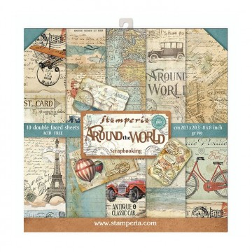 Set 10 papiers scrapbooking 20 x 20 collection Around the world STAMPERIA