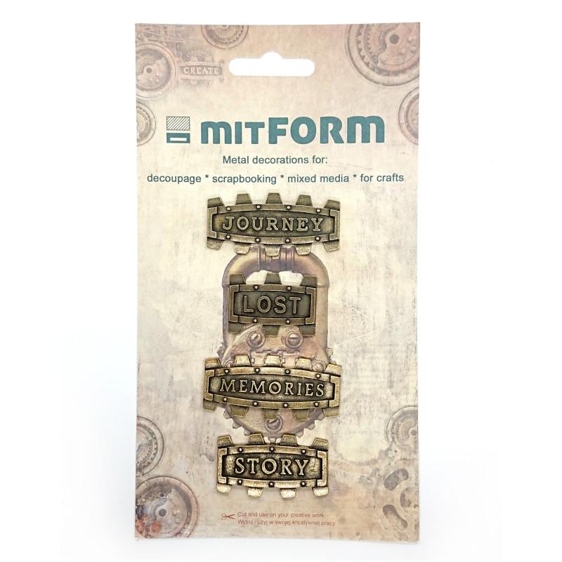 Set 4 embellissements métal plaques décoratives MITFORM