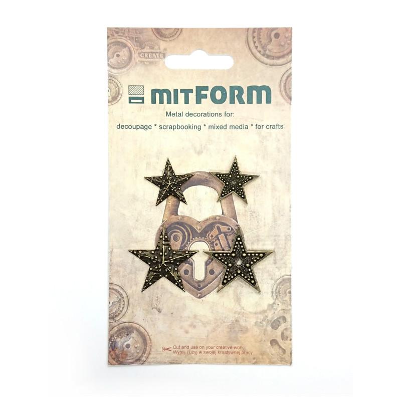 Set 4 embellissements métal étoiles MITFORM