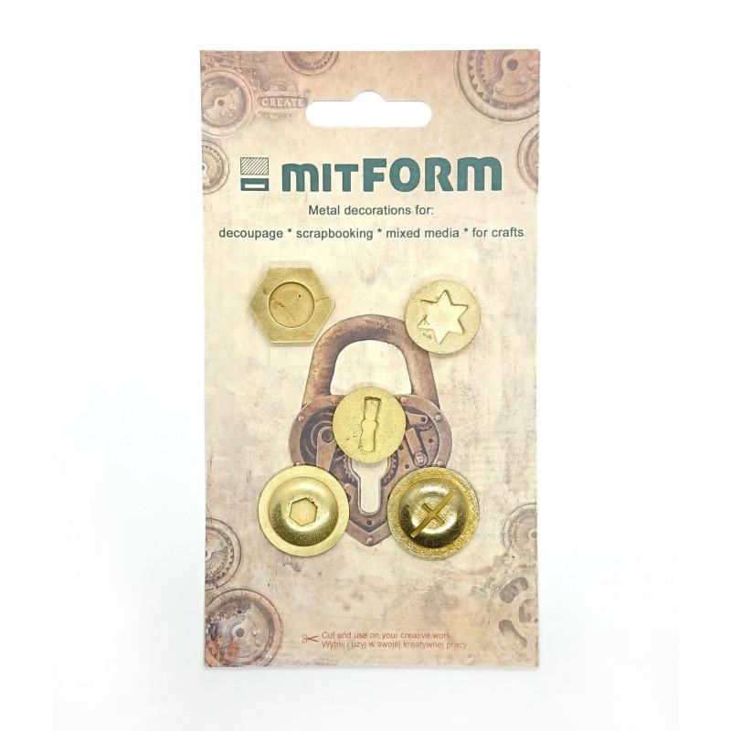 Set 5 embellissements métal poinçon MITFORM