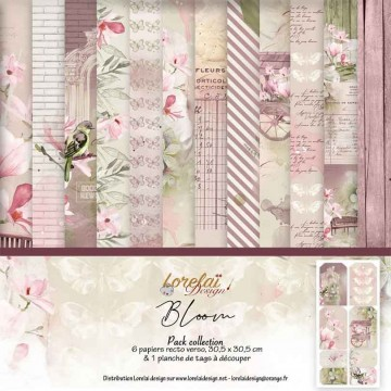 Set 6 papiers scrapbooking 30 x30 collection Bloom LORELAÏ DESIGN