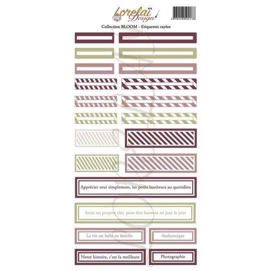 Planche d'étiquettes rayées collection Bloom LORELAÏ DESIGN
