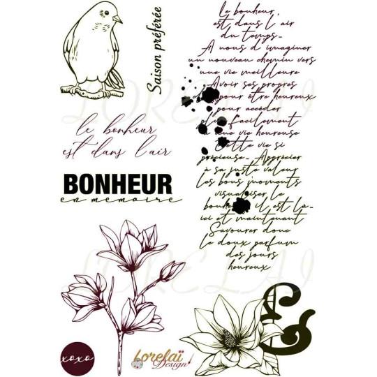Set 8 tampons clear Bonheur en mémoire collection Bloom LORELAÏ DESIGN