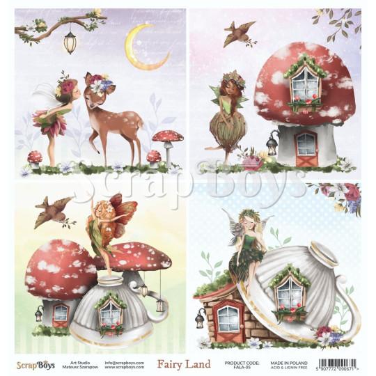 Feuille papier scrapbooking 30 x 30 cartes à découper collection Fairy Land SCRAPBOYS