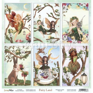 Feuille papier scrapbooking 30 x 30 étiquettes à découper collection Fairy Land SCRAPBOYS