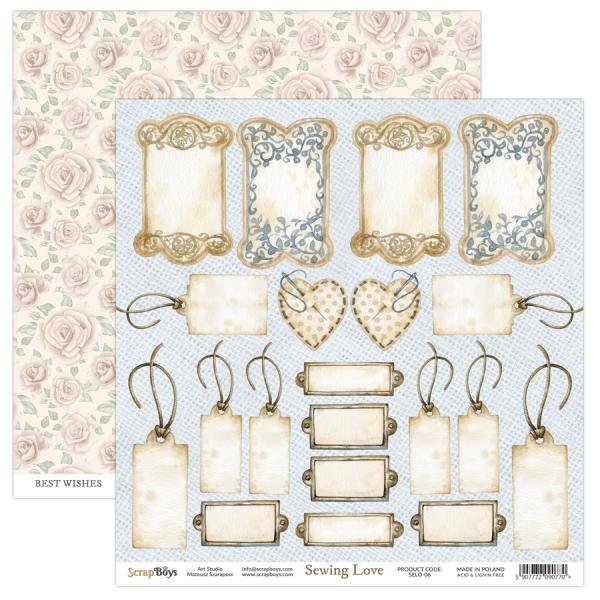 Bloc 24 papiers scrapbooking 15 x 15 collection Sewing Love SCRAPBOYS