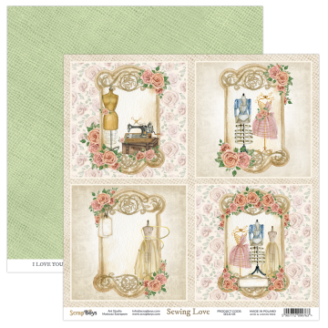Feuille papier scarpbooking 30 x 30 cartes à découper collection Sewing Love SCRAPBOYS