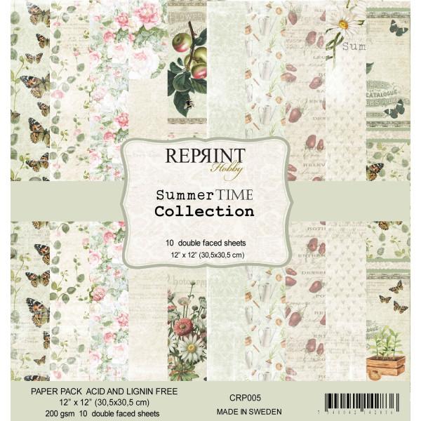 Bloc 10 papiers scrapbooking 30 x 30 collection Summer Time REPRINT