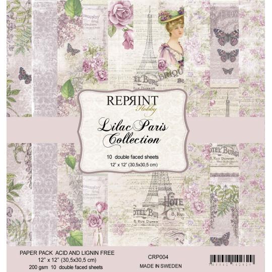 Bloc 10 papiers scrapbooking 30 x 30 collection Lilac Paris REPRINT