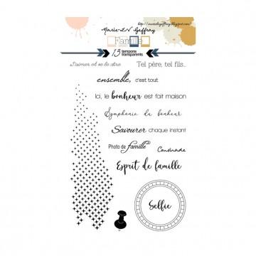 Set 13 tampons clear collection Famille cadre rond MARIE-LN GEFFRAY