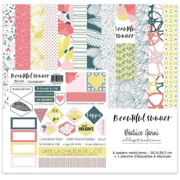 Set 6 papiers scrapbooking 30 x 30 collection Beautiful Summer BEATRICE GARNI ILLUSTRATION