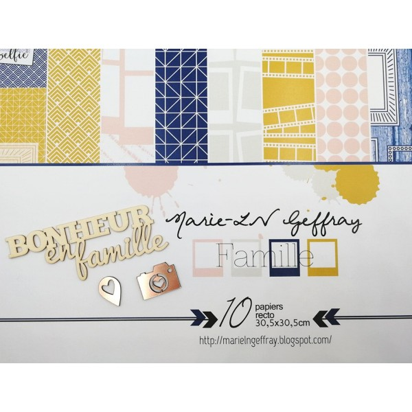 Set 10 papiers scrapbooking 30 x 30 collection Famille MARIE-LN GEFFRAY