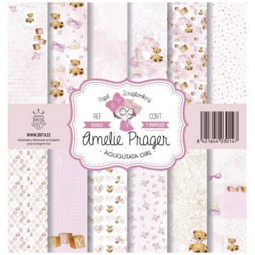 Set 7 papiers scrapbooking 30 x 30 collection Agugutata Girl AMELIE PRAGER