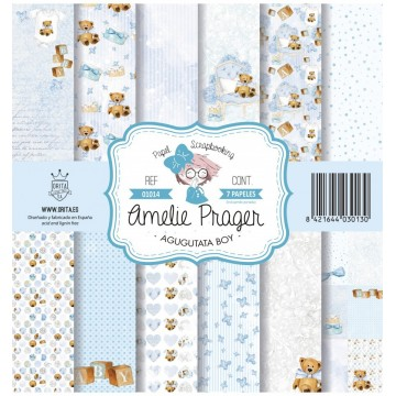 Set 7 papiers scrapbooking 30 x 30 collection Agugutata Boy AMELIE PRAGER