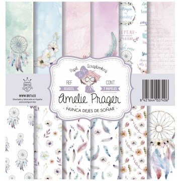 Set 7 papiers scrapbooking 30 x 30 collection Nunca Dejes De Sonar AMELIE PRAGER