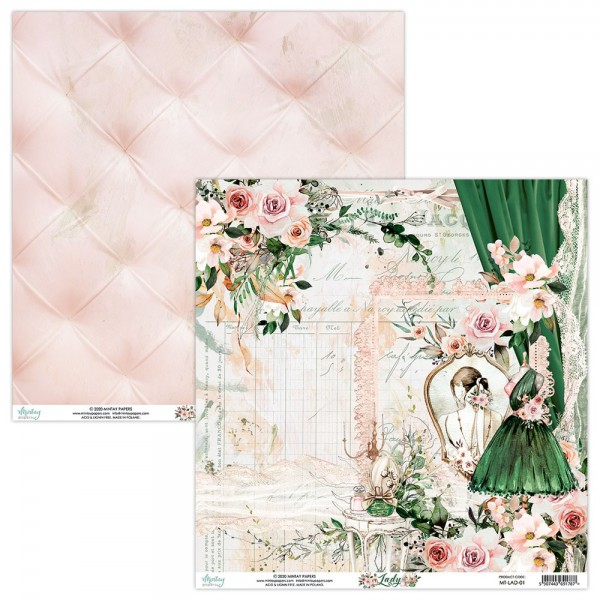 Bloc 12 papiers scrapbooking 30 x 30 collection Lady MINTAY BY KAROLA