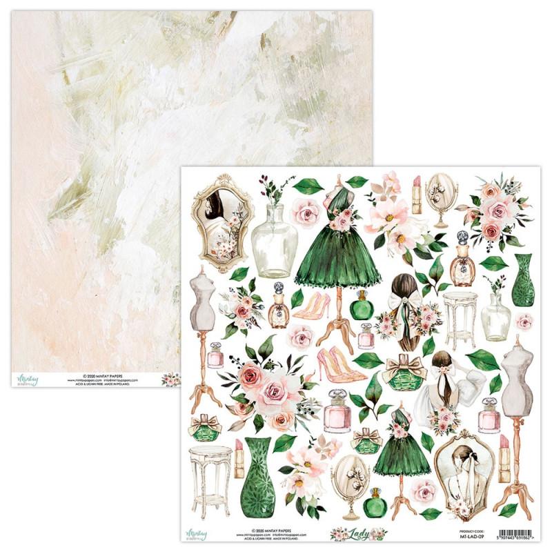 Feuille papier scrapbooking motifs à découper collection Lady MINTAY BY KAROLA