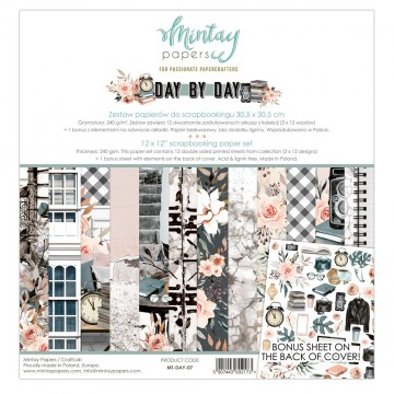 Bloc 12 papiers scrapbooking 30 x 30 collection Day by Day MINTAY BY KAROLA