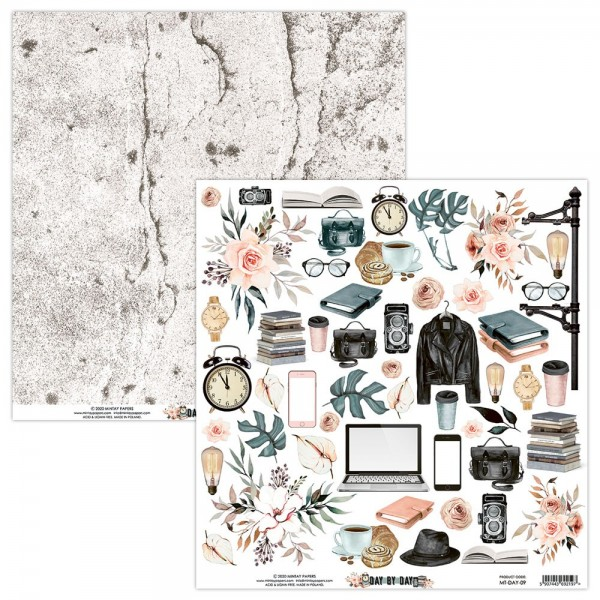 Feuille papier scrapbooking motifs à découper collection Day by Day MINTAY BY KAROLA