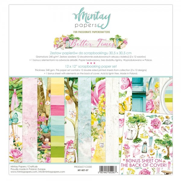 Bloc 12 papiers scrapbooking 30 x 30 collection Better Times MINTAY BY KAROLA