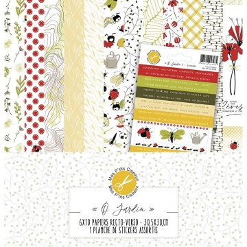 Set 6 papiers scrapbooking 30 x 30 collection Ô'Jardin MES P'TITS CISEAUX